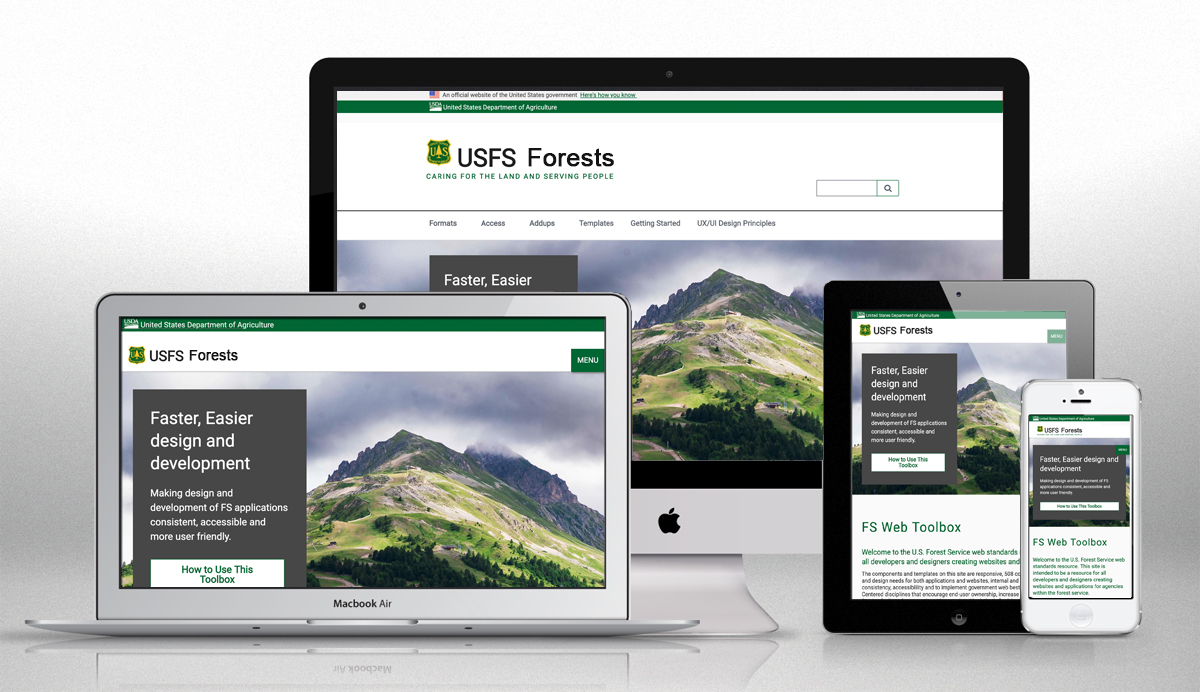 Forest service branding on a responsive template based in th 18f code.